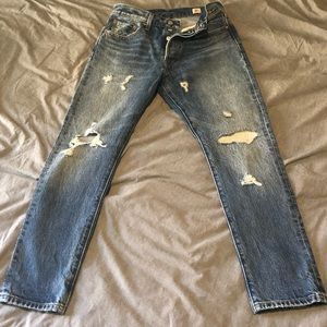 High Waisted Levi's 501 Distressed Skinny Jeans